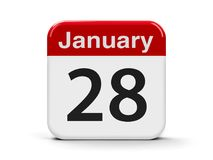 28th January. Calendar web button - The Twenty Eighth of January - Data Protection Day, three-dimensional rendering, 3D illustration Royalty Free Stock Photo