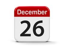 26th December. Calendar web button - The Twenty Sixth of December - Boxing Day, three-dimensional rendering, 3D illustration Stock Illustration