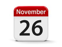 26th November. Calendar web button - The Twenty Sixth of November - World Information Day, three-dimensional rendering, 3D illustration Royalty Free Stock Photo