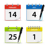 Calendar web colored icons template stock illustration