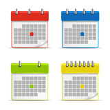 Calendar web colored icons Stock Photography