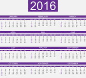 Calendar 2016 for web and other. Calendar 2016 for web simple Royalty Free Stock Photo