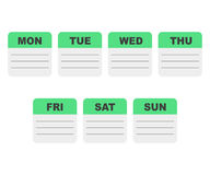 Calendar week planner. With notes Royalty Free Stock Images