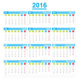 2016 Calendar week start monday. On white background  eps10 Stock Image