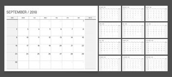 Calendar planner 2018 vector illustration