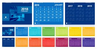Desk calendar 2018. Calendar 2018 week start on Sunday. Desk calendar for corporate business design colorful layout template set 12 months, front cover and back Stock Photos