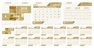 Desk calendar 2018. 2018 calendar week start on Sunday. Desk calendar for corporate business luxury design gold color layout template. Sample image with Gradient Stock Photos
