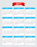 2017 calendar week start sunday. Vector eps10 Stock Image