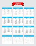 2018 calendar week start sunday. Vector eps10 Stock Image