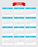 2020 calendar week start sunday. Vector eps10 Royalty Free Stock Photo