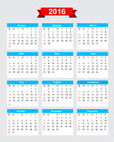 2016 calendar week start sunday 001 Royalty Free Stock Images