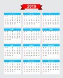 2019 calendar week start sunday. Vector eps10 Royalty Free Stock Images