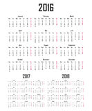 Calendar for 2016, 2017 and 2018. Week starts on Monday.  Royalty Free Stock Images