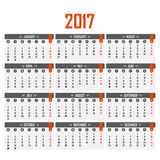 Calendar for 2017. Week starts on Monday. Stock Photography