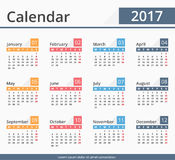 2017 Calendar. Week starts on Monday Royalty Free Stock Photography