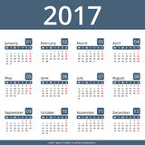 2017 Calendar. Week starts on Monday Stock Images