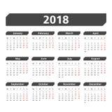 2018 Calendar. Week starts on Monday Stock Photos