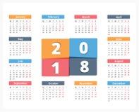 2018 Calendar. Week starts on Monday Royalty Free Stock Image