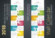 Calendar 2018 week starts monday color background. Vector Stock Images
