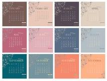 Calendar for 2016 Week Starts Monday. Decoration grape vine. Vector illustration Royalty Free Stock Image