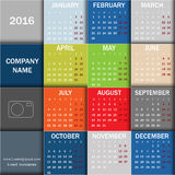 Calendar for 2016. Week starts Monday. Info graphic design.  stock illustration