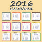 Calendar for 2016 . Week Starts Monday. Simple Vector Template Stock Photos