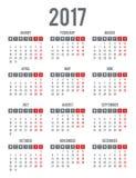 Calendar for 2017. Week Starts Monday. Simple Vector Template Stock Photos