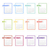 Calendar for 2016. Week Starts Monday. Simple Vector Template. Concepts Web Banner and Printed Materials. Flat Elements Royalty Free Stock Photography
