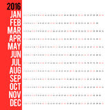 Calendar for 2016. Week Starts Monday. Simple Vector Template. Concepts Web Banner and Printed Materials. Flat Elements Stock Photo