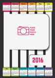 Calendar. For 2016. Week Starts Monday. Vector  template Royalty Free Stock Photography