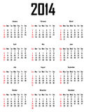 Calendar for 2014. Week starts with sunday Royalty Free Illustration