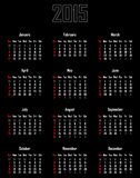 Calendar for 2015. Week starts with sunday Vector Illustration