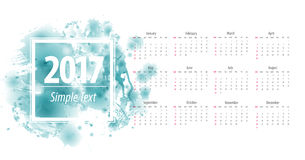 Calendar 2017 week starts from sunday. Beautiful marine abstract watercolor blots printable 12 monthly calendar 2017. Vector illustration colored paint spots Stock Image