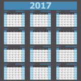 Calendar 2017 week starts on Sunday blue tone Stock Images