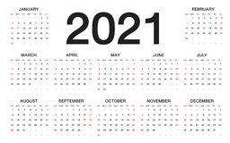 Calendar 2021, Week starts from Sunday, business template royalty free illustration