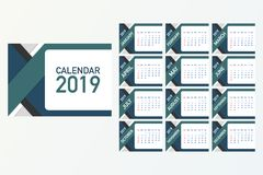 Calendar 2019, Week starts from Sunday, business template. Editable vector file available. English and Sunday to Monday version. A5 size. Vector stock stock illustration