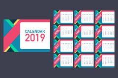 Calendar 2019, Week starts from Sunday, business template. Editable vector file available. English and Sunday to Monday version. A5 size. Vector stock royalty free illustration