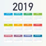 Calendar 2019, Week starts from Sunday, business template. Editable vector file available. English and Sunday to Monday version. Vector stock illustration royalty free illustration