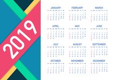 Calendar 2019, Week starts from Sunday, business template. Editable vector file available. English and Sunday to Monday version. Vector stock illustration stock illustration