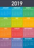 Calendar 2019, Week starts from Sunday, business template. Editable vector file available. A4 size. Calendar 2019, Week starts from Sunday, business template stock illustration