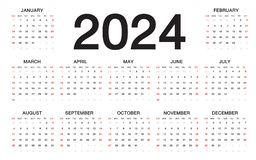 Calendar 2024, Week starts from Sunday, business template. Flyer, poster, wall calendar design royalty free illustration