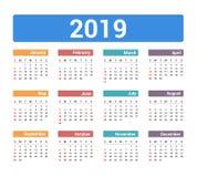 2019 Calendar. Week starts on Sunday vector illustration