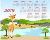 Calendar 2019. Cute monthly calendar with cartoon animal. Calendar 2019 week starts with sunday. Cartoon giraffe, basic grid stock illustration