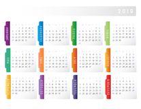 2019 Calendar Week Starts on Sunday Colorful Horizontal. 2019 Calendar Simple ColorfulWeek Starts on Sunday letter page size with gray background and blue royalty free illustration