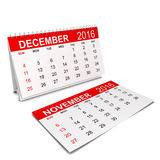 2016 Calendar. Week starts with sunday. 3d illustration isolated on white background Royalty Free Stock Photography