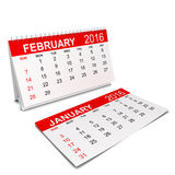 2016 Calendar. Week starts with sunday. 3d illustration  on white background Stock Image
