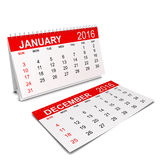 2016 Calendar. Week starts with sunday. 3d illustration  on white background Royalty Free Stock Photo