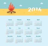 Calendar for 2016. Week Starts Sunday. Stock Photography