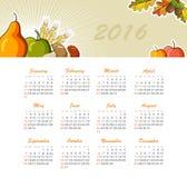 Calendar for 2016. Week Starts Sunday. Stock Images