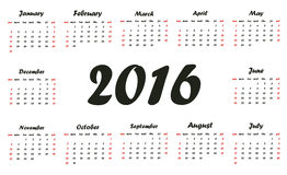 Calendar 2016. Week starts from Sunday. Exclusive design Stock Illustration
